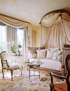 French decorating Bedroom. designed by Diane Burn -  Love the room; in particular I love this carpet.