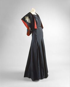 Ensemble, Evening  House of Lanvin  (French, founded 1889)  Designer: Jeanne Lanvin (French, 1867–1946) Date: ca. 1934 Culture: French Medium: silk, metal
