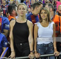 Antonella Rocuzzo and Sofia Balbi attend the Copa del Rey Final match between FC Barcelona and Alaves FC at Vicente Calderon Stadium on May 2017 in Madrid, Spain. Get premium, high resolution news photos at Getty Images Fc Barcelona, Football Soccer, Football Players, Antonella Roccuzzo, Madrid, Perfect Together, Lionel Messi, Fifa, Soccer