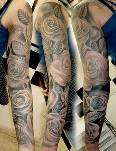 Black and White Floral Sleeve Tattoo. www. http://forcreativejuice.com/cool-sleeve-tattoo-designs/
