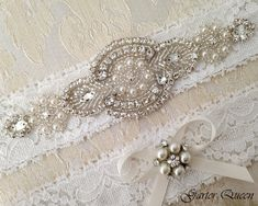 BEST SELLING Off WHite Lace Garter Set Wedding Bridal