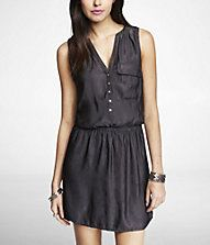 Love this button up dress for work with leggings SLEEVELESS ELASTIC WAIST SHIRTDRESS