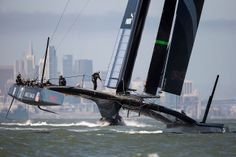 "Oracle Team USA wins America's cup 2013 in new age ""hovering"" and foiling yachts"