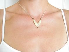CHEVRON Minimalist Necklace Pendant Feminine Elegant by raiz, $20.00