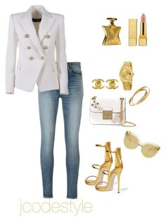 Created by jcodestyle on Polyvore featuring polyvore, fashion, style, Balmain, Yves Saint Laurent, Giuseppe Zanotti, MICHAEL Michael Kors, Rolex, Chanel, Cartier, Linda Farrow, MAC Cosmetics, Bond No. 9 and clothing