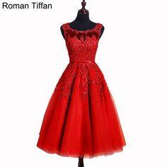 FuzWeb:Short Prom Dresses Roman Tiffan Real Photos Vestidos A-line Sleeveless Appliques Beaded Graduation Cocktail Party Gowns