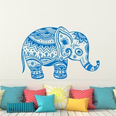Indian Elephant Wall Decal Stickers- Elephant Yoga Wall Decals Indie Tribal Wall Art Bedroom Dorm Nursery Boho Bohemian Home Decor  Approximate