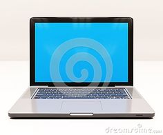 Modern Glossy Laptop Computer with Blank Blue Screen, White Aluminum Body, Generic Design Notebook on the Table, Personal Portable Laptop, Horizontal Mockup, E-Learning Illustration