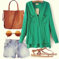 Green Long Sleeve Pockets Dipped Hem Blouse #ladies
