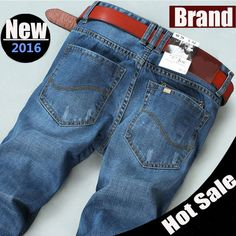 Fashion men's jeans casual pants straight printed jeans blue color famous brand bike jeans,100% cotton,size 38 40 42 available => Price : $35.98