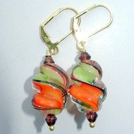 Orange Lime Green and Brown Glass Swirl Dangle by CloudNineDesignz, $18.50