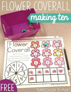 Awesome making ten game for spring! Free flower coverall. Print and play math center or making ten practice for kindergarten.