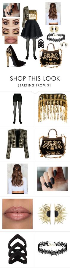 """black and gold"" by amyluprime on Polyvore featuring Alexander Wang, Jaded, Balmain, Dolce&Gabbana, NA-KD, Aurélie Bidermann and Anton Heunis"