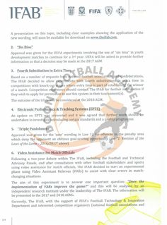 Amendments to the Laws of the Game - 2016/2017 and other important decisions taken by the International Football Association Board.