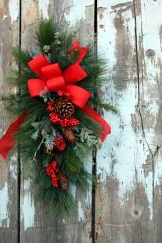 Christmas Swag, Red Bow, Mixed Pine, Pine Cones