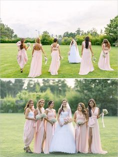 Pink gowns with different necklines - great for bridesmaids to choose their perfect neckline and style, in keeping with the theme. ~ E.A