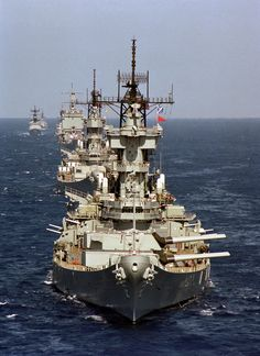 USS New Jersey leading USS Missouri USS Long Beach and a few other ships in a training exercise off the coast of Southern California. Uss Enterprise Cvn 65, Cruisers, Us Battleships, Go Navy, Navy Blue, Capital Ship, Us Navy Ships, Naval History, Navy Military