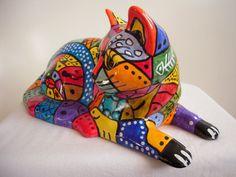 Exklusieve Keramikfigur Katze handbemalt   eBay