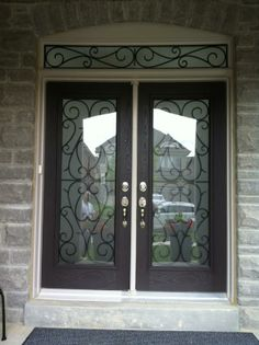 WROUGHT IRON GLASS DOOR INSERTS DECORATIVE STAINED GLASS DOOR INSERTS    NEWMARKET, AURORA, BRADFORD