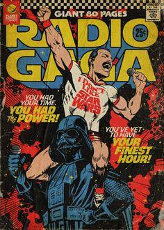 'Planet Mercury' – Queen-Songs als Vintage Comic Cover von Butcher Billy Freddie Mercury, Comics Vintage, Vintage Comic Books, Vintage Music Posters, Poster Vintage, Comic Books Art, Rock Posters, Band Posters, Movie Posters