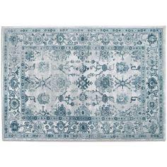 Dalino Pretty Floral Rose Semi-Circular Shape Bath Rug Floor Mat Blue