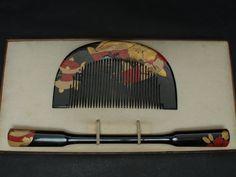 Superb Japanese KUSHI Comb & KOUGAI Kanzashi Set with Lacquered MAKIE for Geisha Kimono