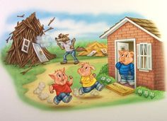 """""""Three little pigs"""" - Free Books & Children's Stories Online Painting For Kids, Drawing For Kids, Pig Birthday Cakes, Sequencing Cards, Big Bad Wolf, Unicorn Art, Three Little Pigs, Conte, Easy Drawings"""