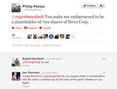 Rupert Murdoch's Twitter Reply ToShareholder