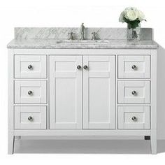 Ancerre Designs Maili White Undermount Single Sink Bathroom Vanity With Natural Marble Top (Common: 48-In X 22-In; Actua