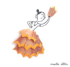 superb!  8  Illustrations Made With Pencil Shavings