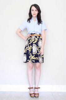 plain blue button down + pattern skirt = classy success