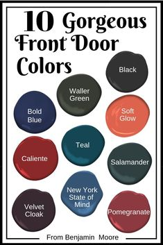 JRL Interiors — The Best Front Door Paint Colors - 10 Gorgeous Colors for Front Door Paint - Exterior Door Colors, Front Door Paint Colors, Painted Front Doors, Paint Colors For Home, Best Front Door Colors, Paint For Front Door, Red Paint Colors, Front Door Painting, Painted Exterior Doors