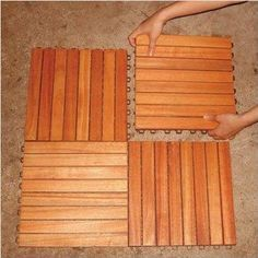Snap Together Wood Deck Tiles – These are another cool idea that works well over top of an existing patio, deck or balcony. They are kiln dried eucalyptus wood with snap together interlocking tabs that you can lay down in any pattern over your existing deck or patio. They are also great for an outdoor shower area, or hot tub area, and drain well. Read more at http://www.infobarrel.com/Portable_Outdoor_Flooring_and_Decking_For_Your_Living_Space#eMBI7TqK6OTy3T9b.99