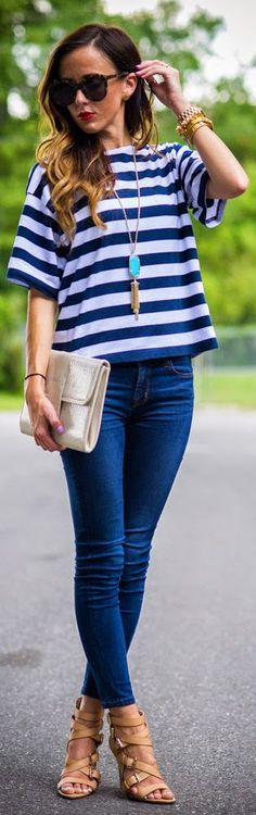 Asos Navy And White Women's Stripe Boxy Tshirt by Sequins & Things