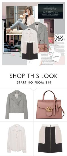 """""""Happy New Year 2017"""" by rainie-minnie ❤ liked on Polyvore featuring Anja, Oris, Wes Gordon, Gucci, Plein Sud, Jimmy Choo, jimmychoo, gucci, personalstyle and bowblouse"""