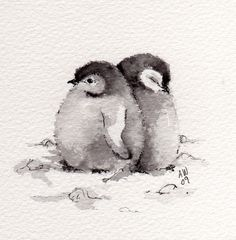 2 Little Penguin Chicks Original ink/watercolour by wildsunartYou can find illustration art and more on our Little Penguin Chicks Original ink/watercolour by wildsunart Watercolor Paintings Of Animals, Watercolor Bird, Simple Watercolor, Watercolor Sketch, Watercolour Pencil Art, Pastel Watercolor, Animal Paintings, Painting & Drawing, Gouache Painting