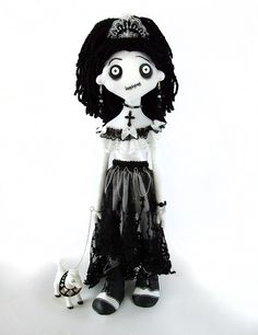 LEYLA the creepy horror monster cloth rag doll with a really mean sheep  OOAK