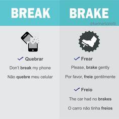 Duas palavras parecidas na escrita e idênticas na pronúncia. Break pode ser usada também para se referir a dar um tempo no relacionamento amoroso.⠀⠀ Exemplo:⠀⠀⠀⠀ We need a break A gente precisa de um tempo. ⠀⠀⠀⠀⠀⠀⠀⠀⠀⠀⠀⠀ ⠀⠀⠀⠀⠀⠀⠀⠀⠀⠀⠀⠀⠀⠀⠀⠀⠀⠀ ⠀ DICA: Se você confundir as duas, um truque usado pra diferenciá-las é lembrar que você faz um BREAK pra tomar BREAKFAST (café da manhã) #aprenderingles #dicadeingles #english #ingles #inglesonline #inglesparabrasileiros #inglespravida Learn English Grammar, English Writing, English Study, English Class, English Words, Teaching English, English Language, English Tips, English Lessons