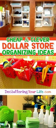Awesome Dollar Store & Dollar Tree Organization Hacks for Organizing Your Home on a Budget in 2019 Dollar Store Organization Ideas and Budget Organizing Hacks Dollar Store Organization, Do It Yourself Organization, Dollar Store Crafts, Dollar Stores, Thrift Stores, Organisation Hacks, Organizing Hacks, Home Organization Hacks, Makeup Organization