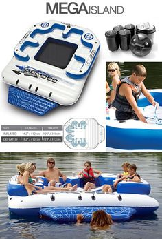The Sea Doo Mega Island inflatable party island with 4 speaker Mp3 music system..    one day when i have a lakehouse and a boat with my husband..