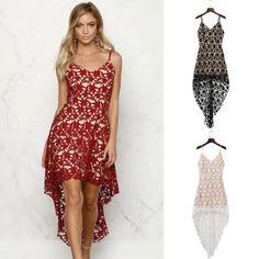 Floral Lace Trim Asymmetric Spaghetti Strap Dress - OASAP.com