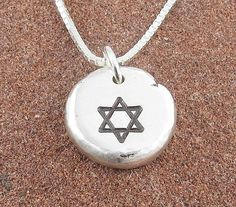 Star of David Necklace,Organic Rustic Recycled Sterling Silver Jewelry/FREE SHIPPING