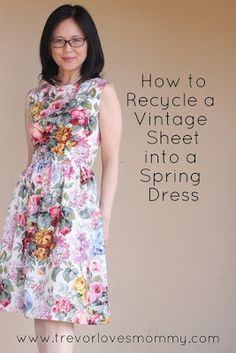 New Spring Dress Upcycled from a Vintage Sheet