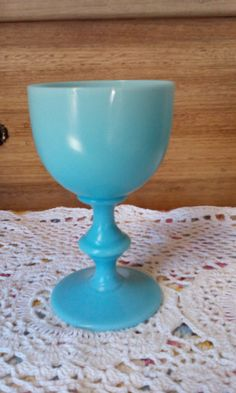 In mint condition - a rare find. I have a Victorian era French Opaline Blue Milkglass Goblet made by Portieux...Sell $30