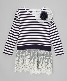 Loving this White & Black Stripe Lace Dress - Infant, Toddler & Girls on #zulily! #zulilyfinds