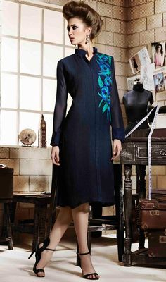 Look classy and elegant dressed in this blue color shade georgette embroidered kurti. The lovely bead and resham work a vital feature of this attire. #bluekurti #georgettetunic #bluetunic