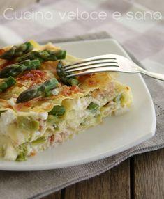 Lasagne con asparagi e prosciutto senza besciamella | Cucina veloce e sana