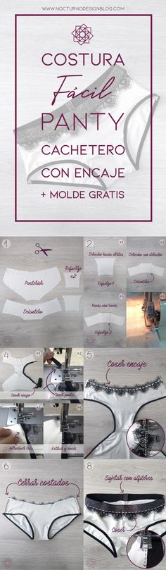 Panty cachetero con encaje + molde gratis – Nocturno Design Blog Design Blog, Lingerie, Sewing Patterns Free, Place Card Holders, Handmade, Costura Diy, Shopping, Ideas Para, Underwear