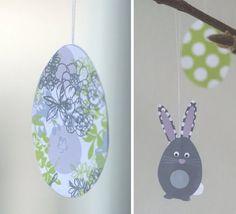 How to make hanging Easter eggs.  Free Easter printable. Found via TipJunkie.com