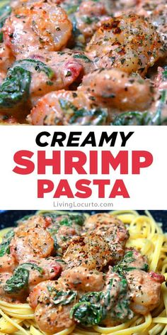 Creamy shrimp pasta is an easy recipe with garlic butter and spinach sauce. Flavorful spices, tomatoes and cream cheese makes this rich dish irresistible. #shrimp #pasta Shrimp Pasta Sauce, Creamy Shrimp Pasta, Butter Shrimp, Garlic Shrimp, Chicken Pasta, Garlic Recipes, Pork Recipes, Healthy Recipes, Healthy Meals